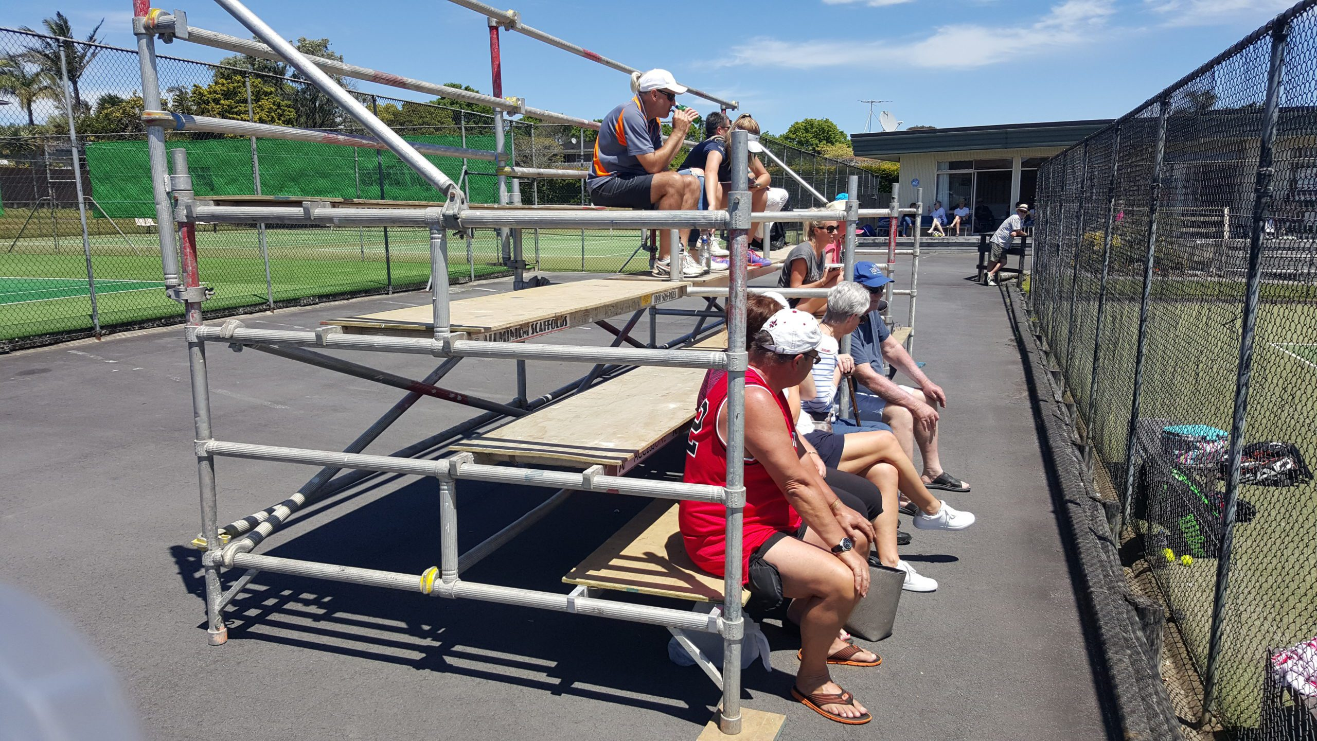 Sunnyhills Tennis Club Seating Donated by Access One Scaffolding