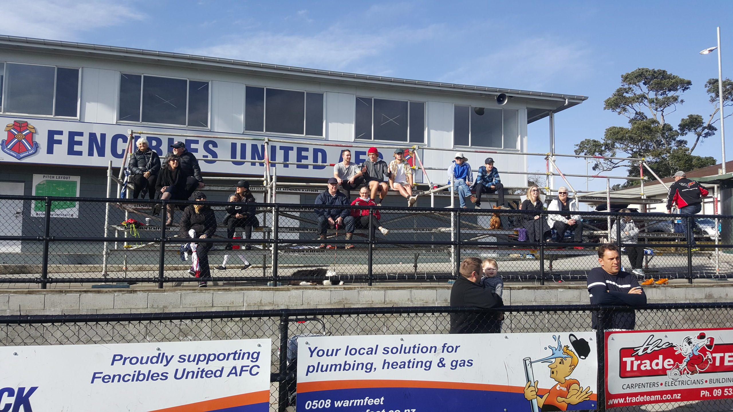 Fencibles United Stadium Seating Donated by Access One Scaffolding
